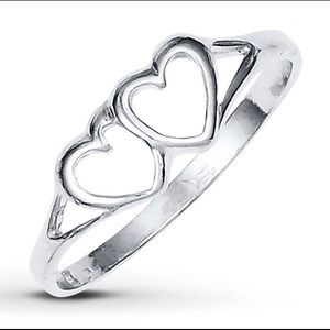 Jared Jewelry Double Heart Sterling Silver Ring